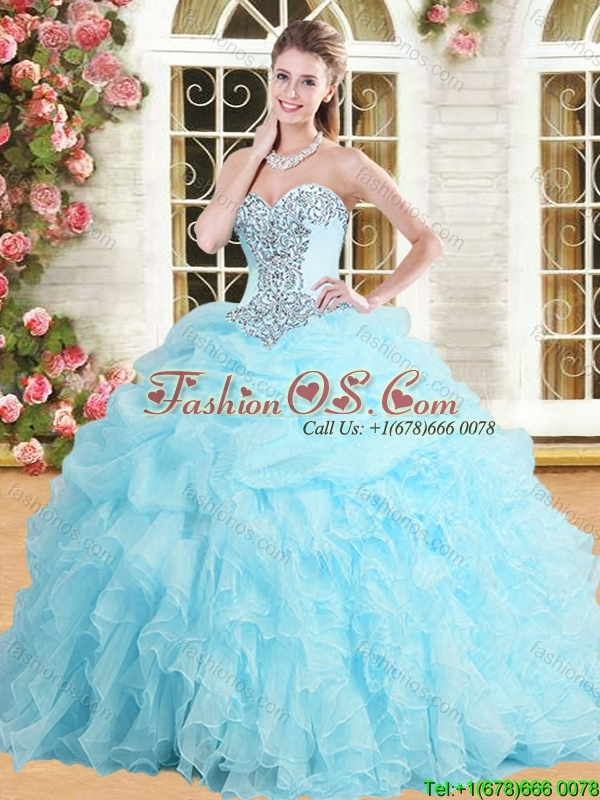Perfect Applique and Ruffled Quinceanera Dress in Baby Blue