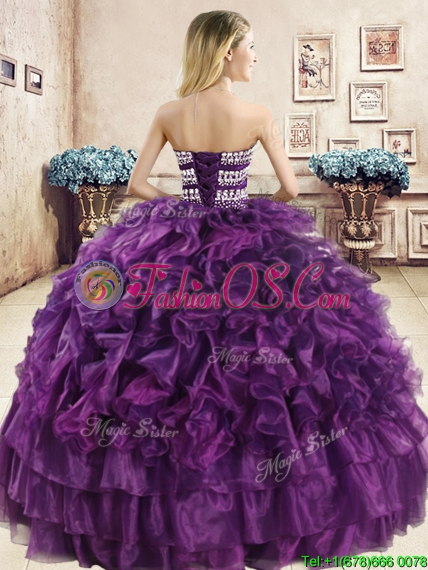 Perfect Big Puffy Navy Blue Quinceanera Dress with Beading and Ruffles