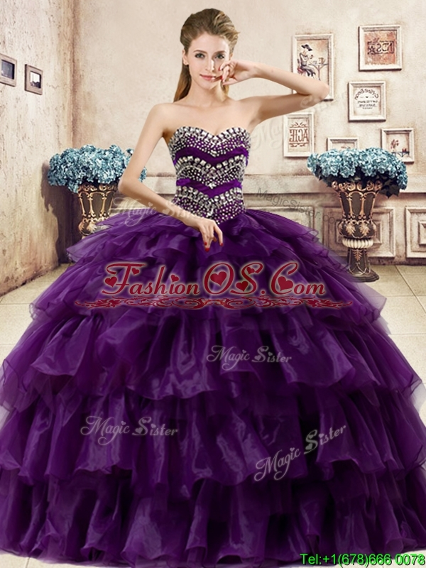 Perfect Big Puffy Organza Quinceanera Dress with Beading and Ruffled Layers