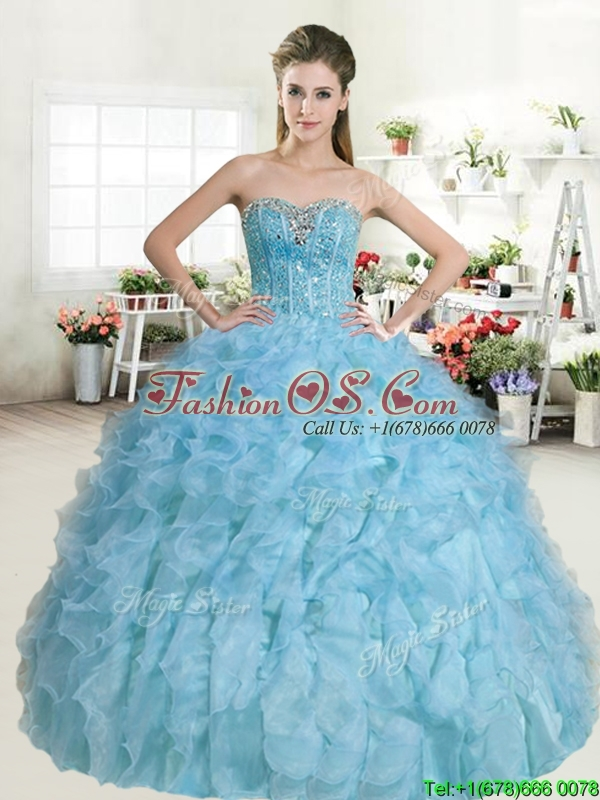 Popular Beaded and Ruffled Baby Blue Quinceanera Dress in Organza