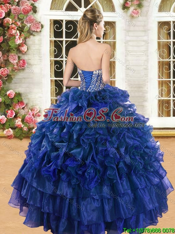 Romantic Beaded and Ruffled Sweet 16 Dress in Royal Blue