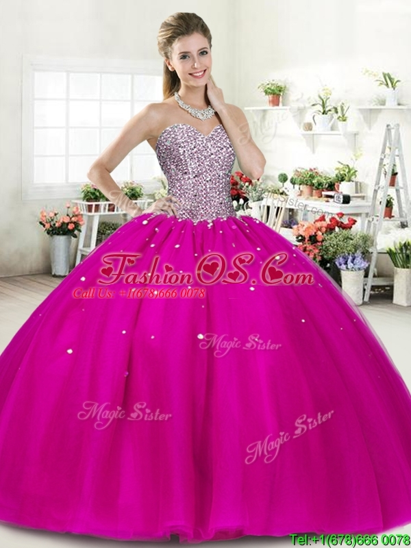 Wonderful Fuchsia Big Puffy Quinceanera Dress with Beading for Spring