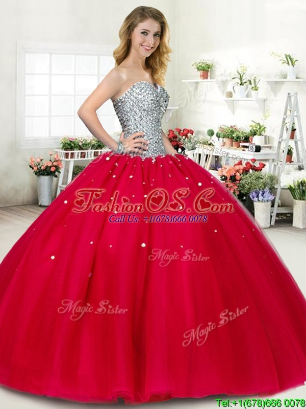 2016 New Style Beaded Big Puffy Sweet 16 Dress in Red