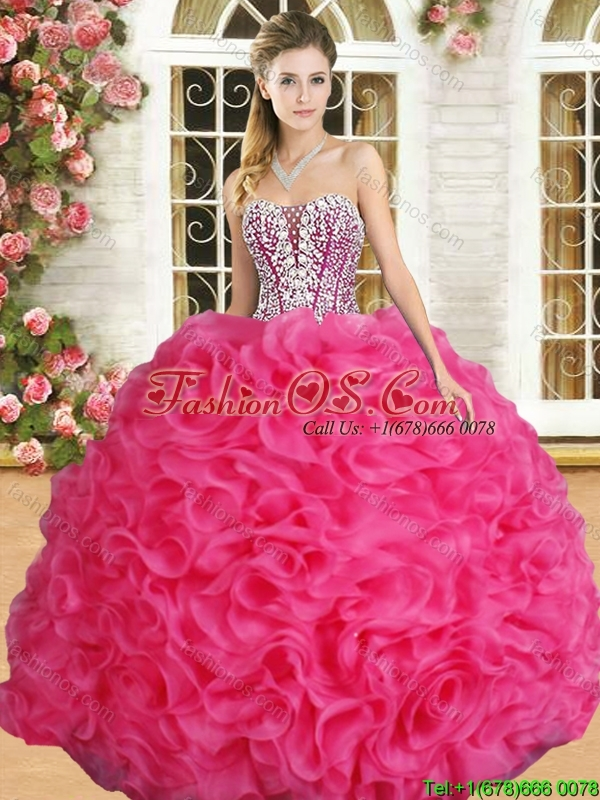 Affordable Hot Pink Sweet 16 Dress with Beading and Ruffles