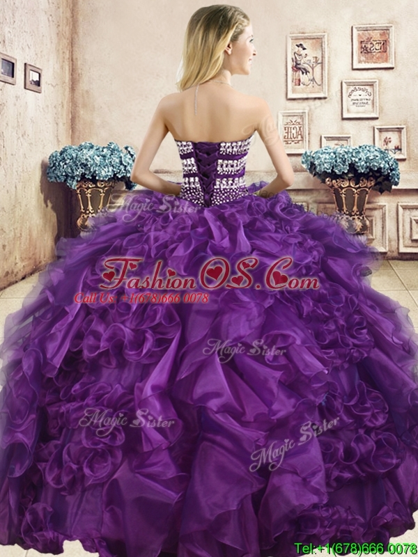 Beautiful Really Puffy Purple Quinceanera Dress with Beading and Ruffles