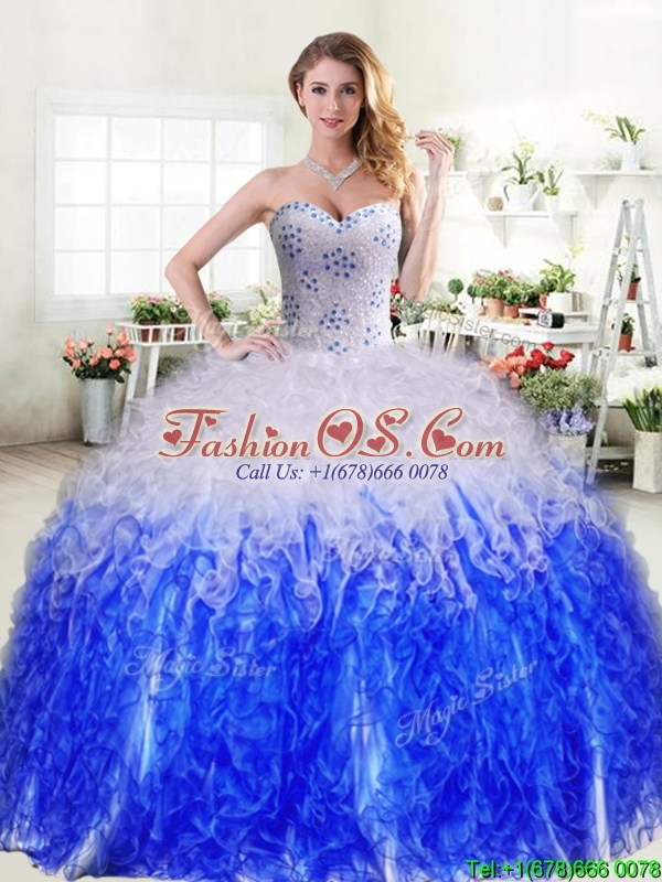 Best Selling Really Puffy Quinceanera Dress in Royal Blue and White
