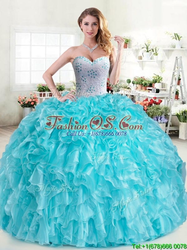 Cheap Aqua Blue Sweet 16 Dress with Beading and Ruffles