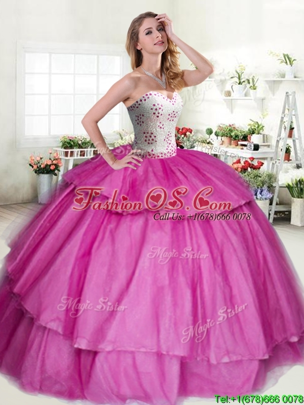 Discount Big Puffy Quinceanera Dress with Beading and Ruffled Layers