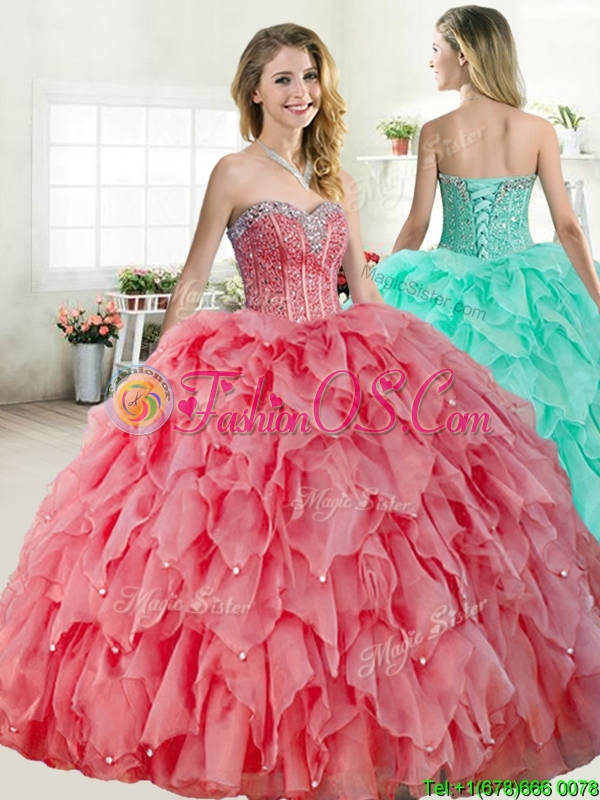 Discount Coral Red Quinceanera Dress with Beading and Ruffles