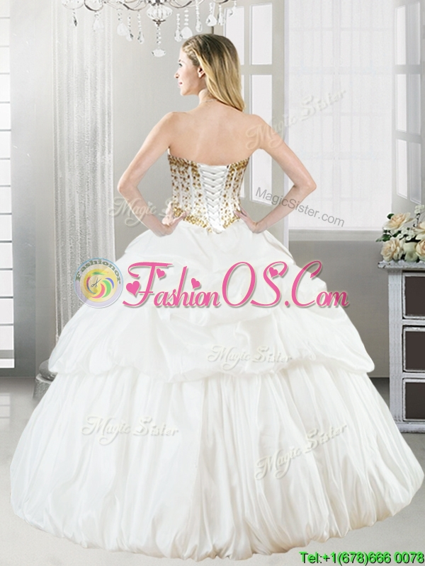 Discount Taffeta White Quinceanera Dress with Beading and Pick Ups