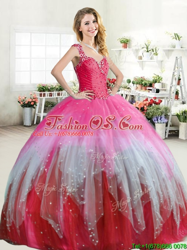 Hot Sale Colorful Straps Quinceanera Dress with Beading and Ruffled Layers