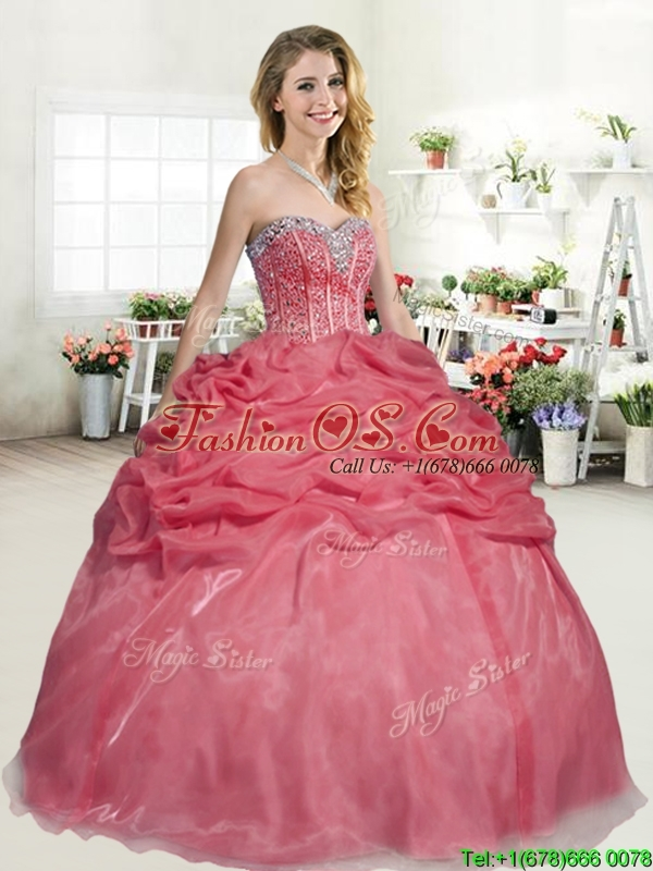 Latest Organza Coral Red Quinceanera Dress with Beading and Pick Ups