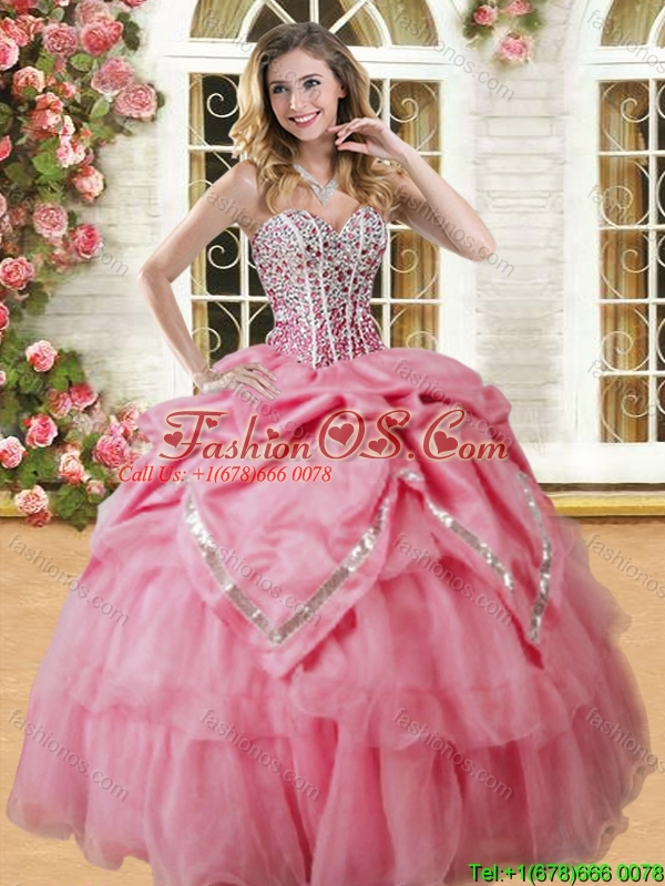 Lovely Coral Red Big Puffy Quinceanera Dress with Beading and Pick Ups