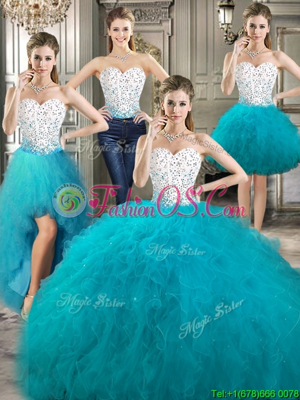Affordable Beaded and Ruffled Detachable Quinceanera Dresses in Teal and White