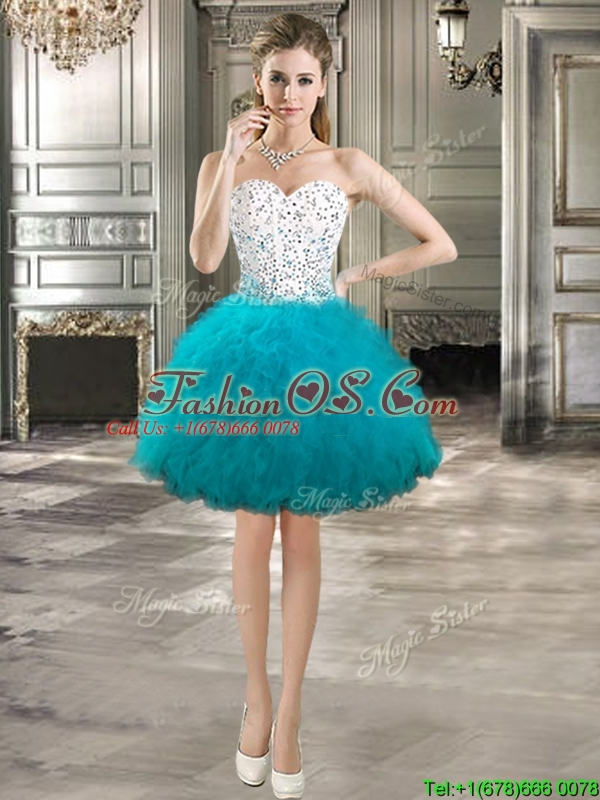 Beautiful Really Puffy Detachable Sweet 16 Dresses with Beading and Ruffles