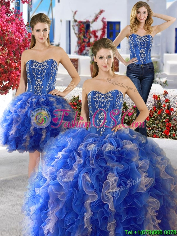 Best Applique and Ruffled Detachable Quinceanera Dresses in Royal Blue and Champagne