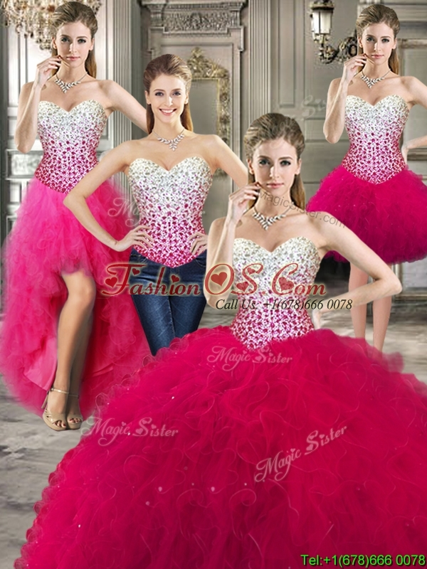 Best Really Puffy Red Detachable Quinceanera Dresses with Beading and Ruffles