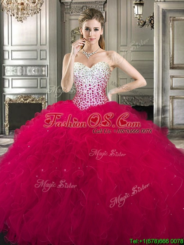 Cheap Beaded Bodice and Ruffled Detachable Quinceanera Dresses in Hot Pink