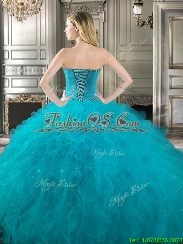 Classical Big Puffy Teal Detachable Quinceanera Dresses with Beading and Ruffles