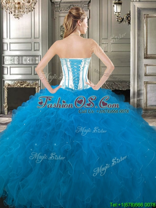 Exclusive Beaded and Ruffled Detachable Quinceanera Dresses in Blue and White