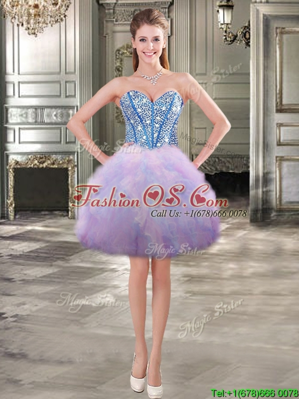 Fashionable Beaded and Ruffled Detachable Quinceanera Dresses in Rainbow