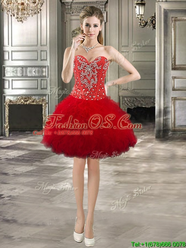 Fashionable Beaded and Ruffled Detachable Quinceanera Dresses in Red