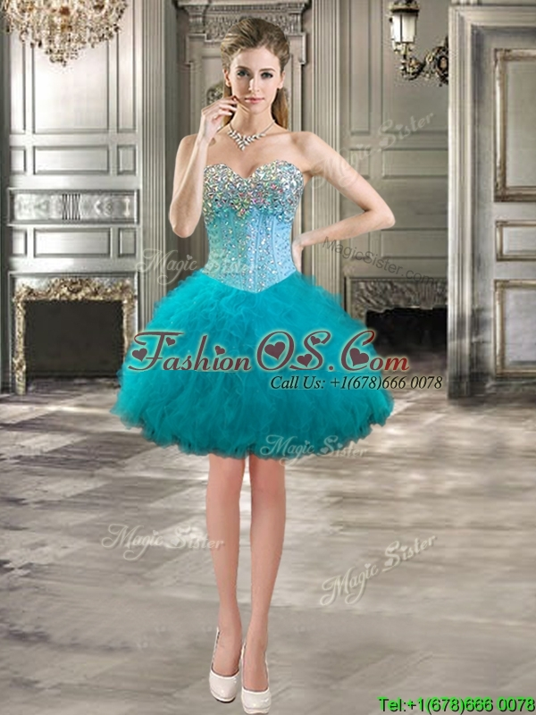 Modern Beaded Bodice and Ruffled Detachable Quinceanera Dresses in Teal