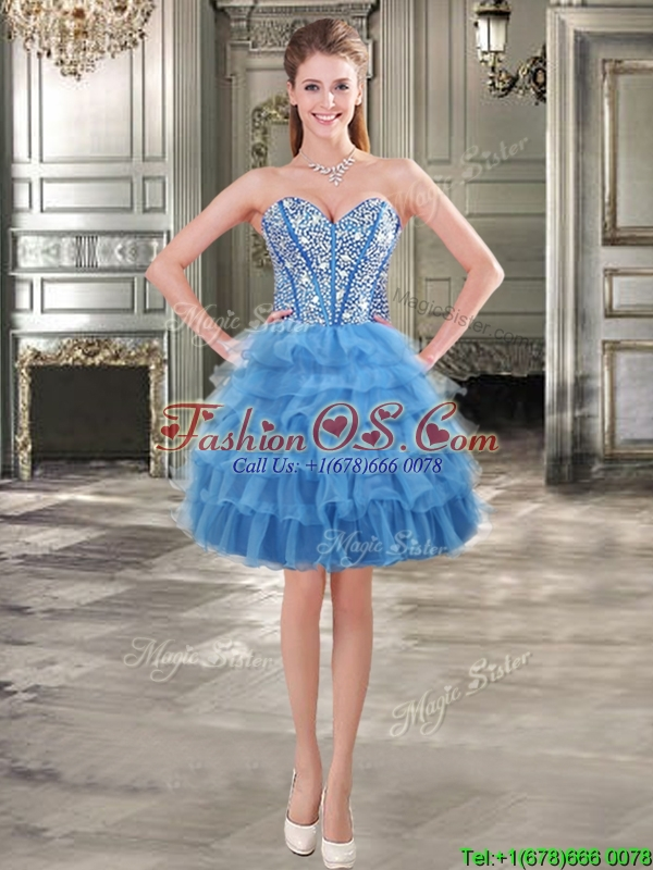 Modest Beaded and Ruffled Layers Detachable Quinceanera Dresses in Blue