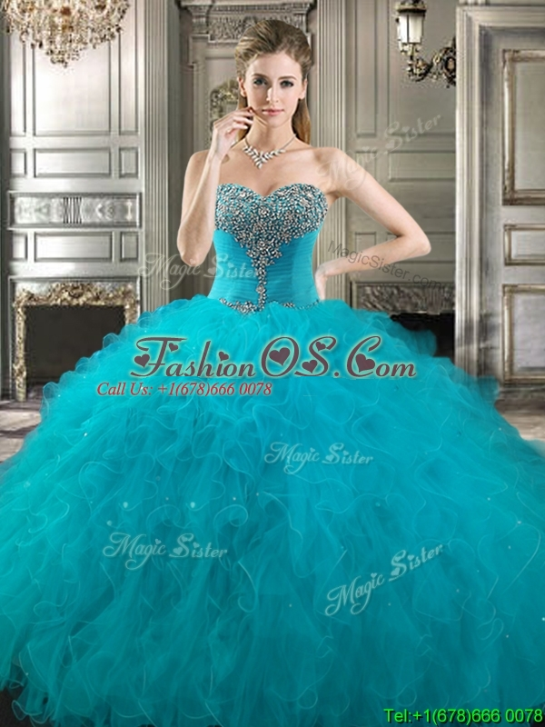 Perfect Beaded and Ruffled Detachable Quinceanera Dresses in Teal