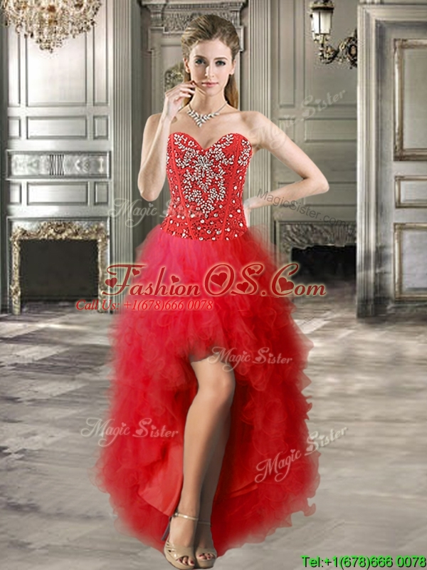 Romantic Tulle Red Detachable Sweet 16 Dresses with Beading and Ruffles