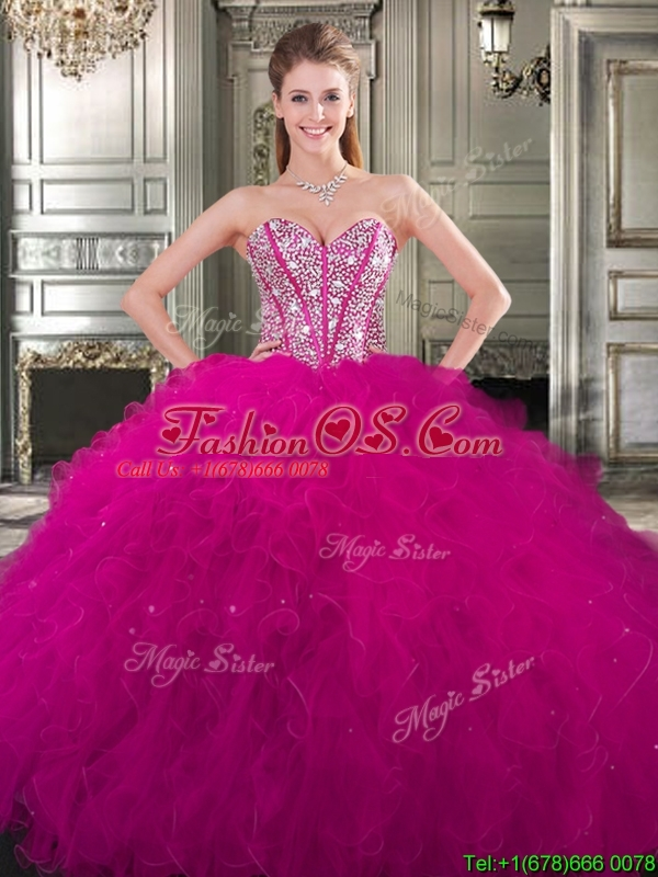 Discount Tulle Fuchsia Detachable Sweet 16 Dresses with Beading and Ruffles