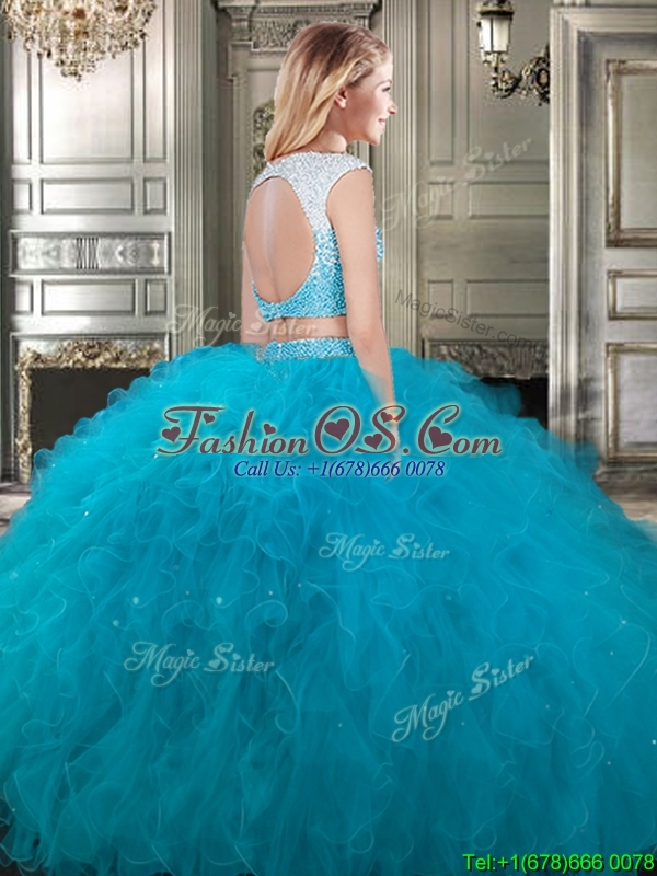 Modest Scoop Cap Sleeves Teal Detachable Sweet 16 Dresses with Beading and Ruffles