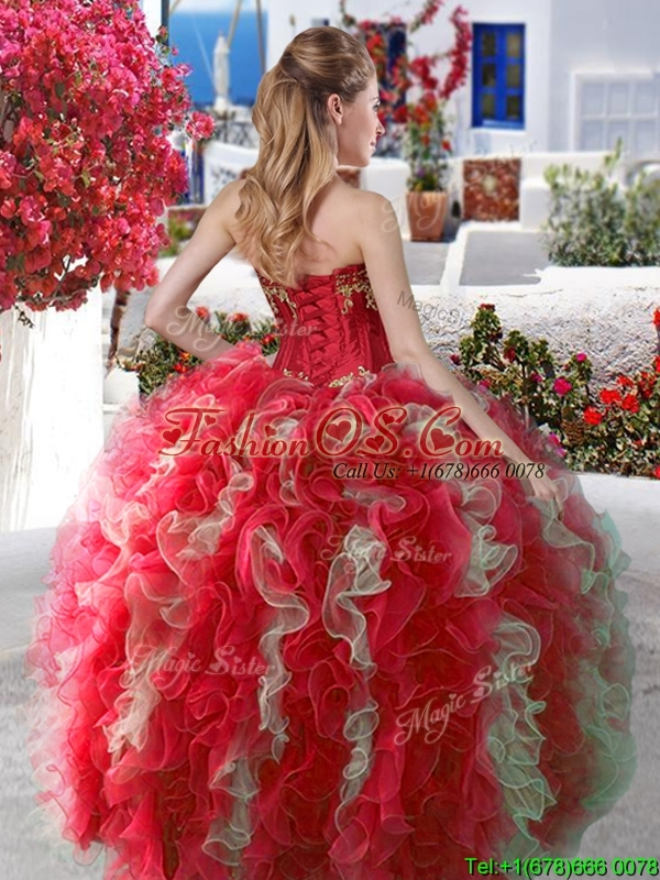 2016 Elegant Applique and Ruffled Big Puffy Quinceanera Dress in Organza