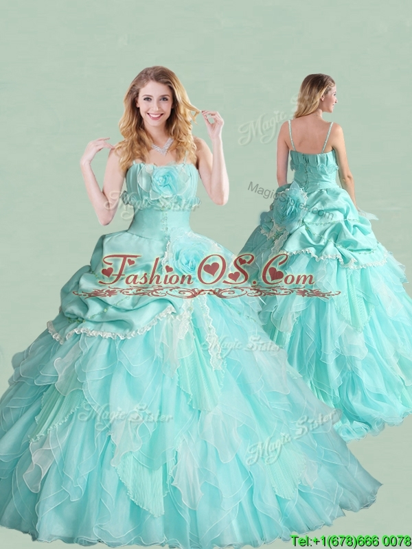 2016 Popular Spaghetti Straps Brush Train Quinceanera Dress with Handcrafted Flowers and Bubbles