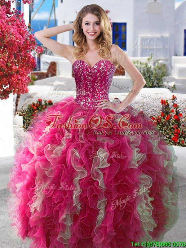 2016 Visible Boning Beaded and Ruffled Quinceanera Dress in Hot Pink