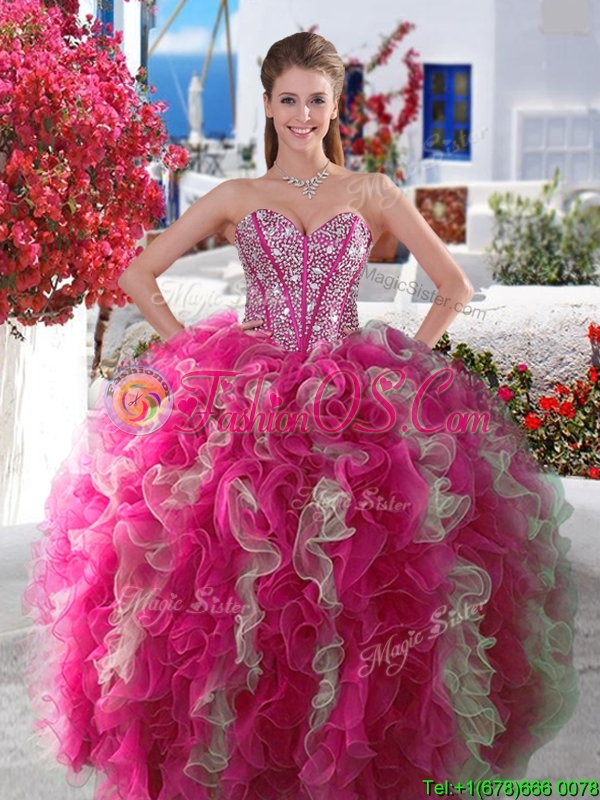 2016 Visible Boning Beaded and Ruffled Quinceanera Gown in Red and White