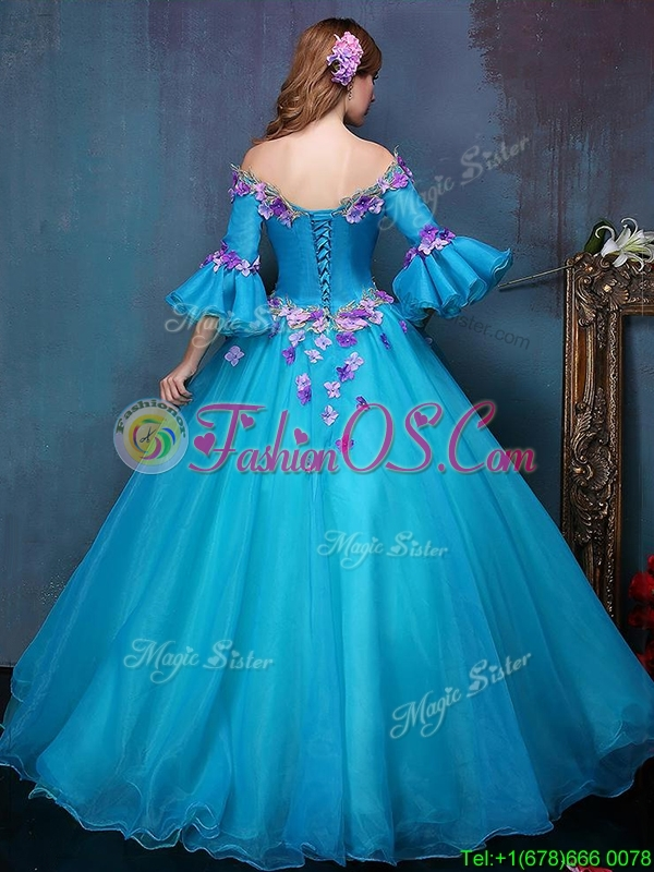 Elegant Off the Shoulder Three Fourth Length Sleeves Quinceanera Dress with Appliques