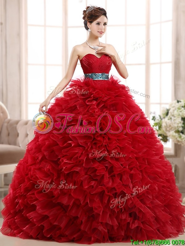 Luxurious Sashed and Ruffled Sweet 16 Dress in Wine Red