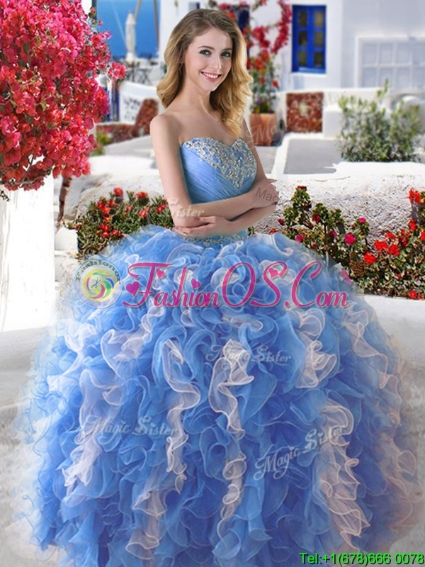 Wonderful Organza Big Puffy Sweet 16 Dress with Beading and Ruffles