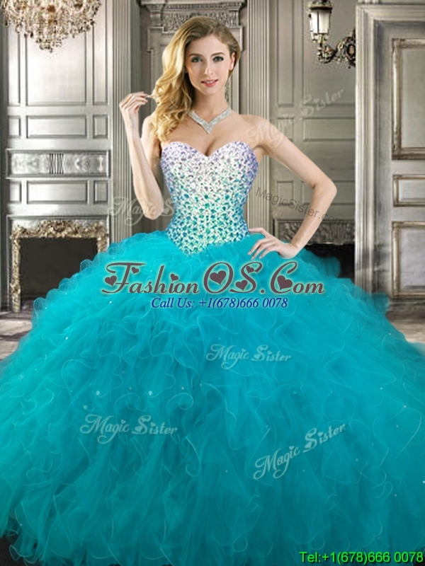 2016 Gorgeous Teal Really Puffy Quinceanera Dress with Beading and Ruffles