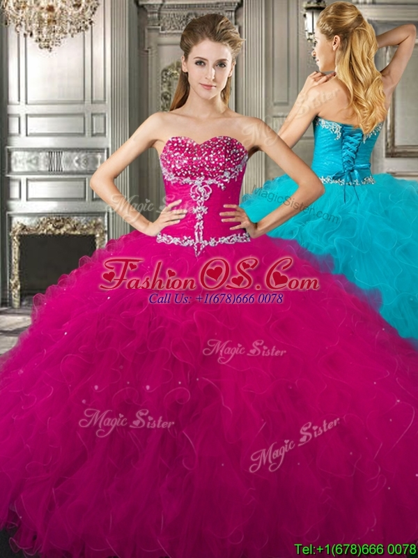 Affordable Beaded and Ruffled Fuchsia Sweet 16 Dress in Tulle
