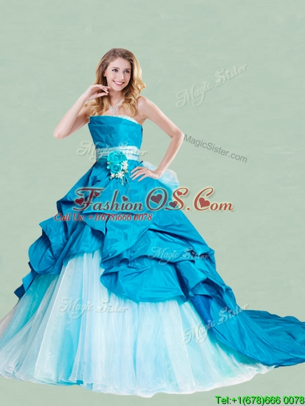 Beautiful Handcrafted Flowers and Ruffled Strapless Quinceanera Dress with Brush Train