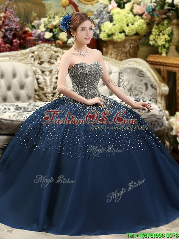 Classical Beaded Bodice Sweet 16 Dress in Navy Blue