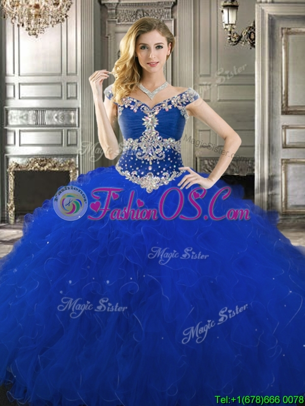 Classical Off the Shoulder Cap Sleeves Quinceanera Dress with Beading and Ruffles