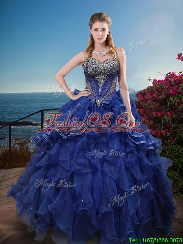 Classical Rhinestoned and Ruffled Sweet 16 Dress in Royal Blue