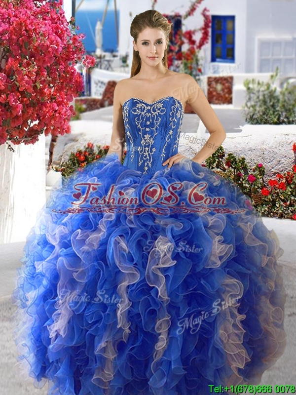 Discount Red and White Sweet 16 Dress with Beading and Ruffles