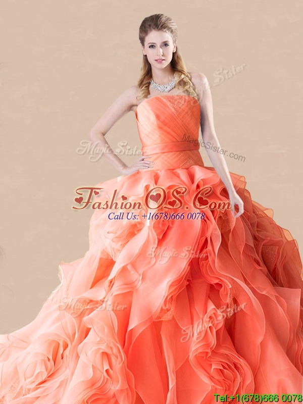 Exclusive Rolling Flowers Orange Red Quinceanera Dress with Brush Train