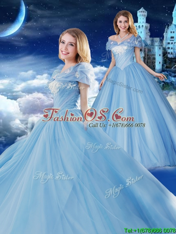Off the Shoulder Brush Train Applique Quinceanera Gown with Removable Cap Sleeves
