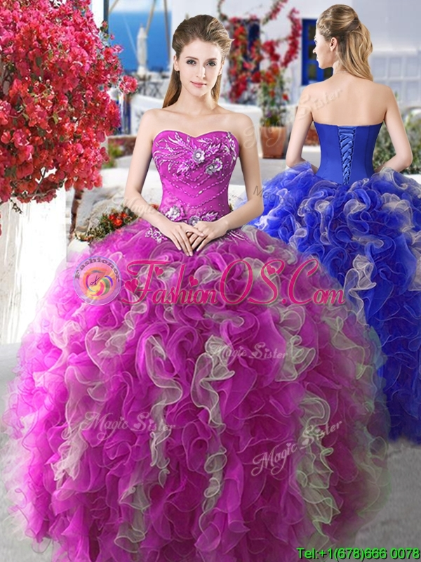 Perfect Applique and Ruffled Sweet 16 Gown with Puffy Skirt