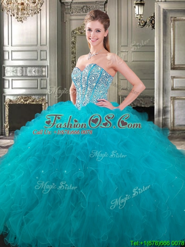 Popular Beaded and Ruffled Big Puffy Sweet 16 Dress in Fuchsia